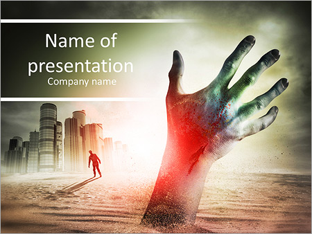 Zombie Rising A Hand From The Ground PowerPoint Template