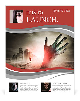 Zombie Flyer Template | Zombie Rising A Hand Rising From The Ground Flyer Template