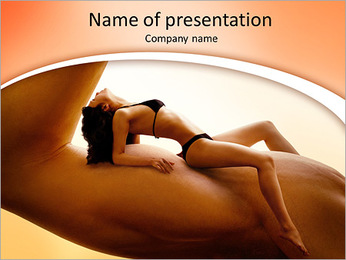 Beautiful young woman in bikini resting on a man's biceps. Fitness, tanning, health and beauty conce PowerPoint Template