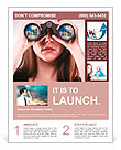 A businesswoman looking through binoculars, seeing conflicting trends in earnings prediction, can be Flyer Template