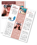 A businesswoman looking through binoculars, seeing conflicting trends in earnings prediction, can be Newsletter Template