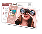 A businesswoman looking through binoculars, seeing conflicting trends in earnings prediction, can be Postcard Template