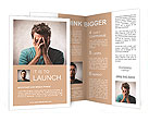 Desperate young man crying in his hands Brochure Templates