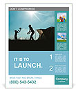 Family camping. Silhouette of mother and son having fun outdoors near tent. Autumn summer outdoor ac Poster Templates