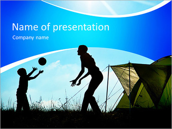 Family camping. Silhouette of mother and son having fun outdoors near tent. Autumn summer outdoor ac PowerPoint Template