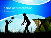 Family camping. Silhouette of mother and son having fun outdoors near tent. Autumn summer outdoor ac PowerPoint Templates
