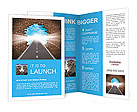 Break through to opportunity concept with a highway going through a broken brick wall to a shinning Brochure Templates