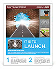 Break through to opportunity concept with a highway going through a broken brick wall to a shinning Flyer Template