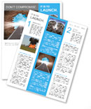 Break through to opportunity concept with a highway going through a broken brick wall to a shinning Newsletter Template