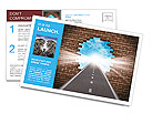Break through to opportunity concept with a highway going through a broken brick wall to a shinning Postcard Template