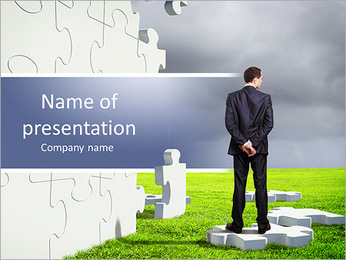 Businessman with a puzzle pieces on the background PowerPoint Template