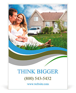 happy family near new house real estate concept ad template