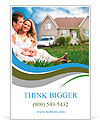 Happy family near new house. Real estate concept. Ad Templates