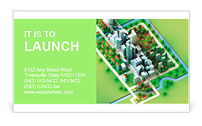 Landscape bird view on new sustainable city concept development illustration perspective render illu Business Card Template