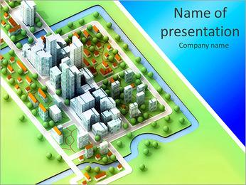 Landscape bird view on new sustainable city concept development illustration perspective render illu PowerPoint Template