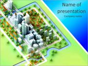 Landscape bird view on new sustainable city concept development illustration perspective render illu PowerPoint Templates