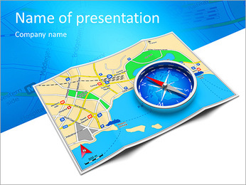 GPS navigation, tourism and travel route planning concept: color city map and blue magnetic compass PowerPoint Template