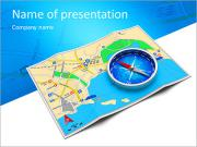 GPS navigation, tourism and travel route planning concept: color city map and blue magnetic compass PowerPoint Templates