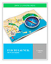 GPS navigation, tourism and travel route planning concept: color city map and blue magnetic compass Word Templates