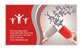 Hands open capsule show molecule as medical concept Business Card Templates