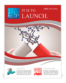 hands open capsule show molecule as medical concept flyer template