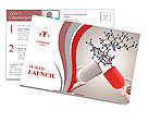 Hands open capsule show molecule as medical concept Postcard Templates
