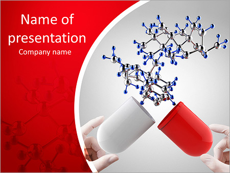 Pharmacology powerpoint templates backgrounds google slides hands open capsule show molecule as medical concept powerpoint template maxwellsz