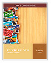 Creative photo gallery concept: collection of colorful photos on background made from wooden planks Word Templates