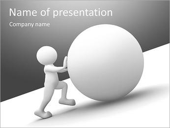 Caráter humano branco 3d que empurra uma esfera em branco Modelos de apresentações PowerPoint