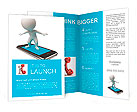 3d small people flying on a mobile phone. 3d image. Isolated white background. Brochure Templates