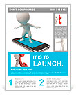 3d small people flying on a mobile phone. 3d image. Isolated white background. Flyer Template