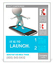 3d small people flying on a mobile phone. 3d image. Isolated white background. Poster Template