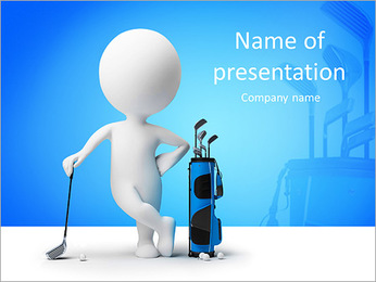 3d small person leant the elbows on a stick for a golf near to a bag for sticks. 3d image. Isolated PowerPoint Template