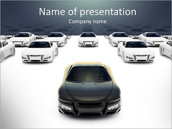Front view of black sports car leaving the pack with hundreds white PowerPoint Template