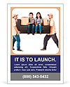 Delivery men carrying a heavy couch with kids - isolated over a white background Ad Template