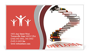 Graduation cap on the top of the stairs made of books - diploma 3d concept Business Card Template