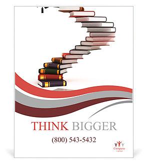Выпускной крышки на верхней части лестницы сделаны из книг  Выпускной крышки на верхней части лестницы сделаны из книг диплом 3d концепции Плакаты