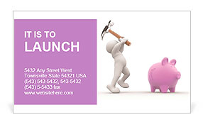 3d people - human character about to break his piggy bank with a hammer. 3d render illustration Business Card Template
