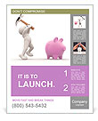 3d people - human character about to break his piggy bank with a hammer. 3d render illustration Poster Template