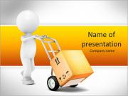 Delivery. 3D Little Human Character transporting a Box. PowerPoint Templates