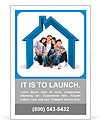 Beautiful family in a 3D house - isolated over a white background Ad Templates