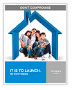 Beautiful family in a 3D house - isolated over a white background Word Templates