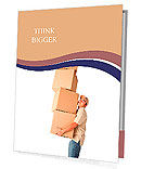 Delivery man carrying heavy boxes - isolated over a white background Presentation Folder