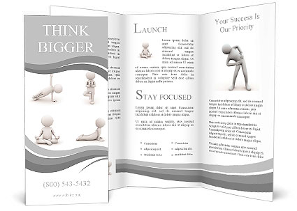 D Man Doing Yoga Exercise Isolated On White Background Brochure - 3d brochure template