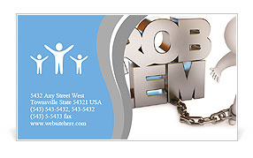 A man chained to a problem. White background. 3d render Business Card Template