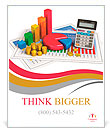Financial business, analytics, banking and accounting concept: pie chart, bar graph, golden coins an Poster Template