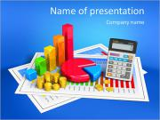 Financial business, analytics, banking and accounting concept: pie chart, bar graph, golden coins an PowerPoint Template