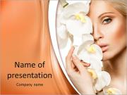 Beauty face of the young beautiful woman with flower. Girl on white background PowerPoint Templates