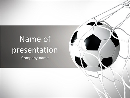 soccer ball in net powerpoint template & backgrounds id 0000009707, Powerpoint templates