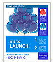 Party balloons blue translucent. Happy birthday anniversary graduation retirement cyan decoration. F Poster Template